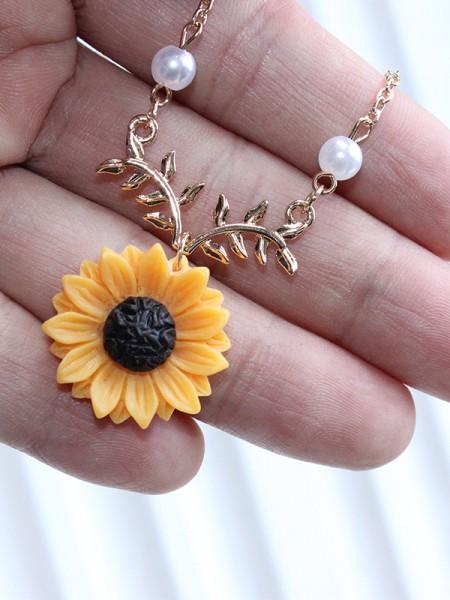 Unique Alloy With Sunflower Hot Sale Necklaces