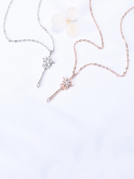 Pretty S925 Silver With Rhinestone Necklaces For Women