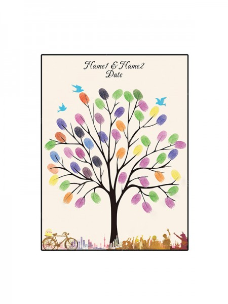 Cute Personalized Canvas Fingerprint Guestbook With Ink Pad