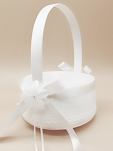 Exquisite Flower Basket In Satin With Bowknot