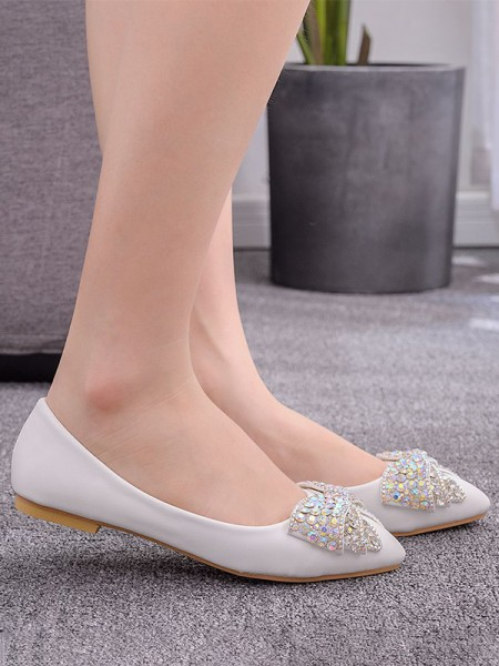 Women's PU Closed Toe With Rhinestone Flat Heel Flat Shoes