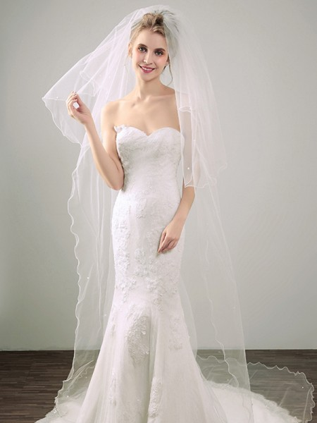 Delicate Tulle With Pearl Two Tier Chapel Wedding Veils