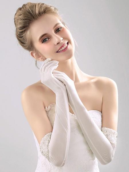 Elegant Tulle With Lace Opera Length Wedding Gloves