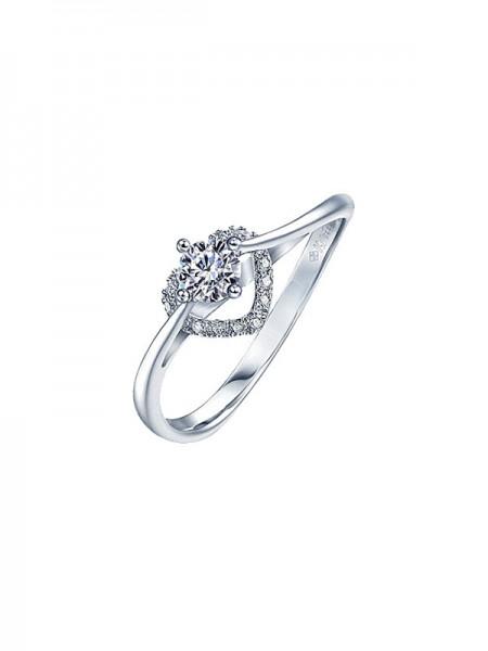 Pretty 925 Sterling Silver With Rhinestone Adjustable Wedding Rings