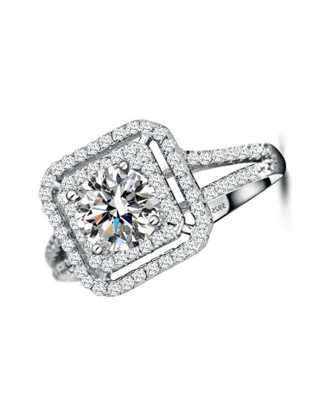 Fashion S925 Silver With Crystal Hot Sale Wedding Rings