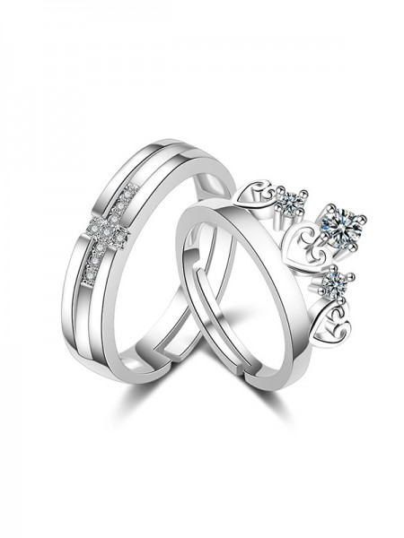 Fashion Copper With Rhinestone Adjustable Couple Rings