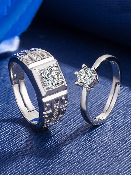 Charming Copper With Zircon Adjustable Couple Rings