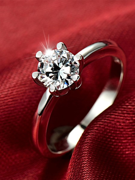 Simple S925 Silver With Zircon Wedding Rings