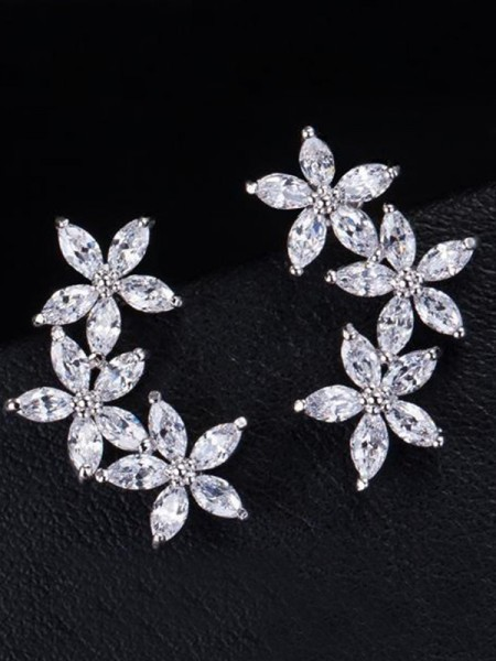 Attractive Copper With Flower Earrings For Ladies
