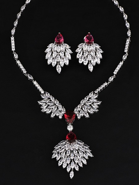 Classic Copper With Zircon Jewelry Set For Women