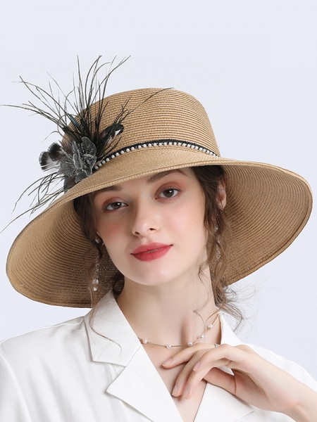 Ladies' Special Wheat Straw Flower Kentucky Derby Hats/Tea Party Hats