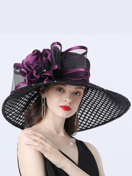 Ladies' Romantic Organza With Silk Flower Beach/Sun Hats/Kentucky Derby Hats/Tea Party Hats