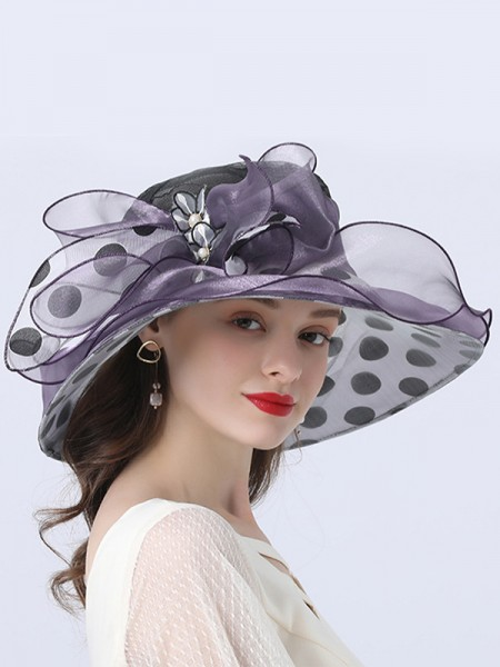 Ladies' Beautiful Organza With Silk Flower Beach/Sun Hats/Kentucky Derby Hats/Tea Party Hats