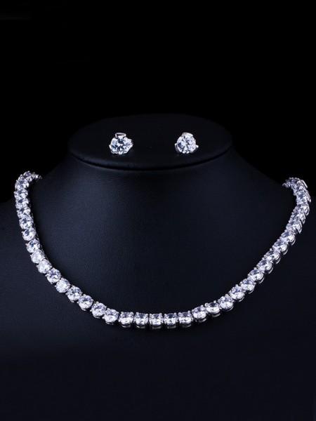 Gorgeous Copper With Zircon Jewelry Set For Ladies