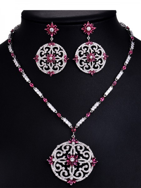 Trending Copper With Rhinestone Hot Sale Jewelry Set