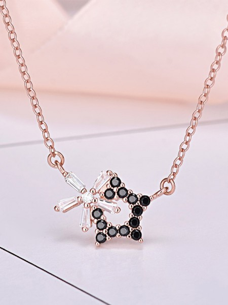 Elegant S925 Silver With Star Necklaces For Ladies