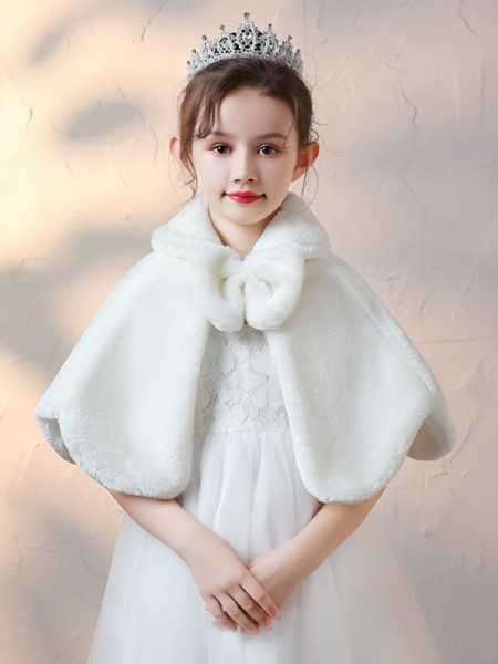 Pretty Faux Fur With Bowknot Wraps