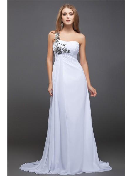 A-Line/Princess One-Shoulder Sequin Lace Chiffon Dress