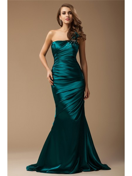 Trumpet/Mermaid One Shoulder Ruffles Elastic Woven Satin Dress