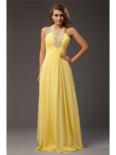 Sheath/Column Halter Chiffon Dress