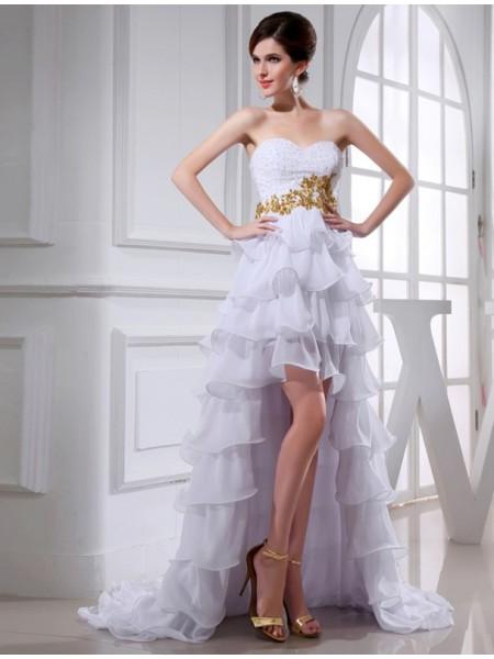 A-Line/Princess Sweetheart High Low Applique Chiffon Cocktail Dress