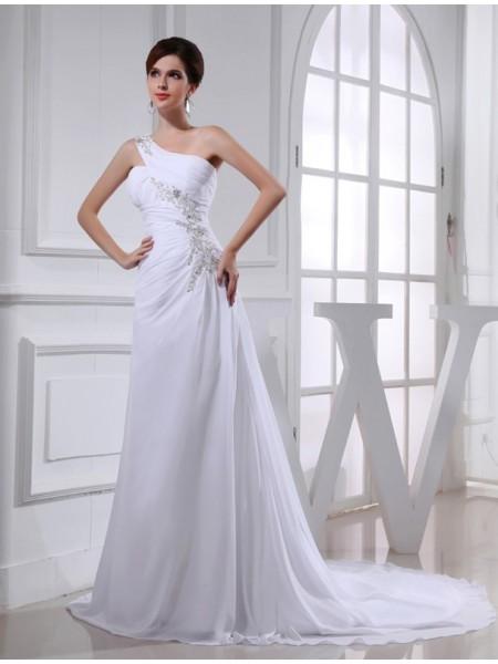 A-Line/Princess One-shoulder Chiffon Applique Wedding Dress