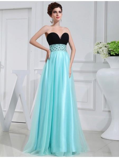 A-Line/Princess Sweetheart Elastic Woven Satin Dress