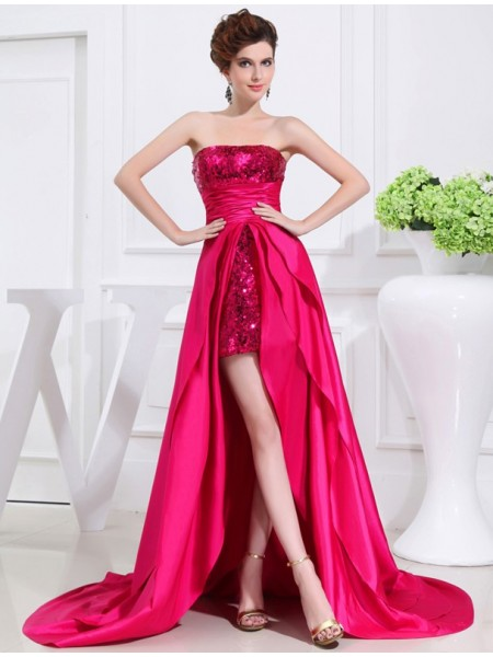 A-Line/Princess High Low Applique Strapless Taffeta Dress