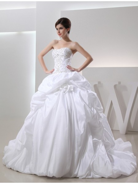 Ball Gown Long Taffeta Wedding Dress