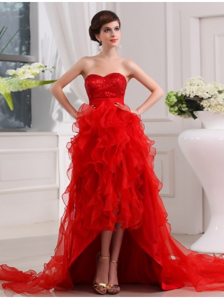 A-Line/Princess Sequin Sweetheart High Low Organza Dress