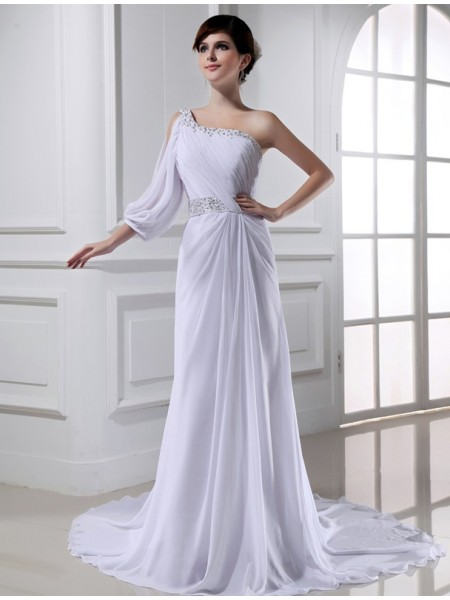 A-Line/Princess One-shoulder One-sleeve Chiffon Wedding Dress