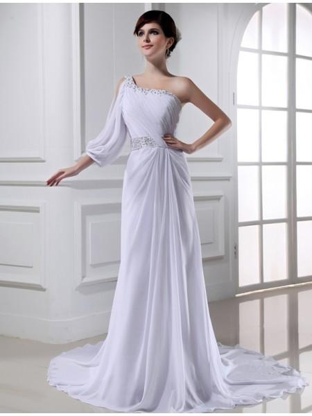A-Line/Princess One-shoulder One-sleeve Chiffon Wedding Dress