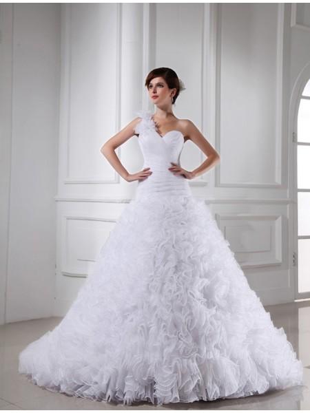 Ball Gown One-shoulder Sweetheart Long Organza Wedding Dress