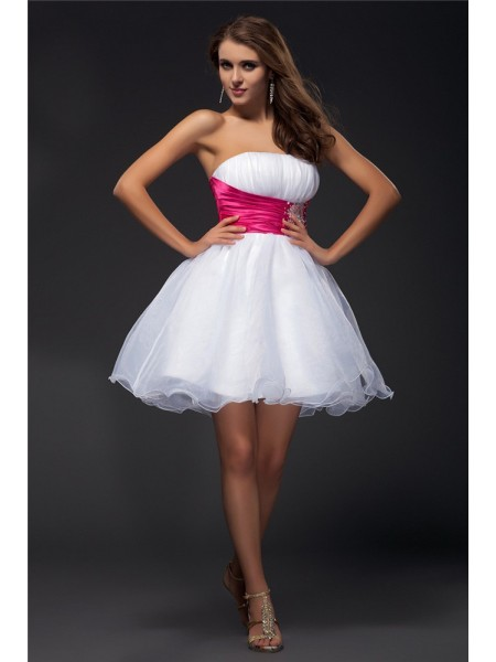 A-Line/Princess Strapless Sash Organza Elastic Woven Satin Cocktail Dress