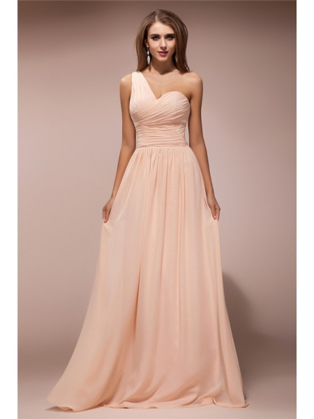 Sheath/Column One-Shoulder Ruffles Chiffon Dress