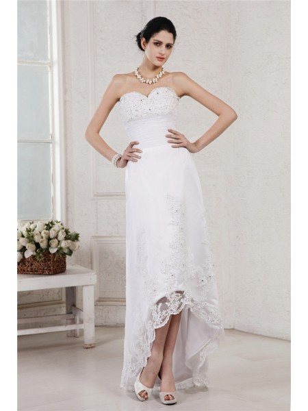 Sheath/Column Sweetheart Applique High Low Organza Wedding Dress