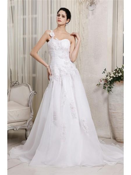 A-Line/Princess One-Shoulder Applique Long Organza Wedding Dress