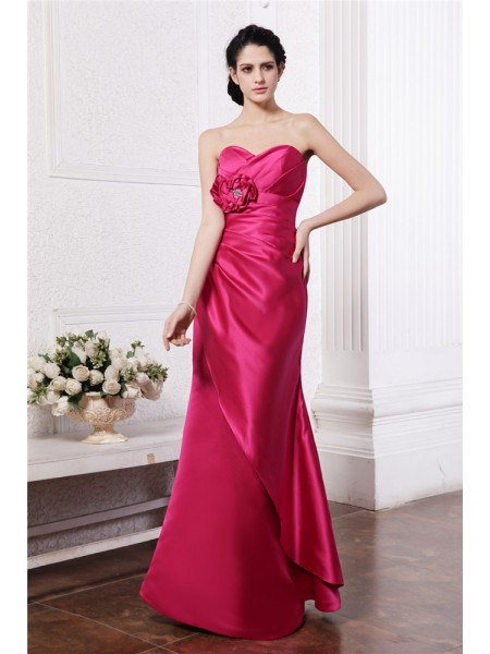 Sheath/Column Sweetheart Pleats Long Elastic Woven Satin Bridesmaid Dress