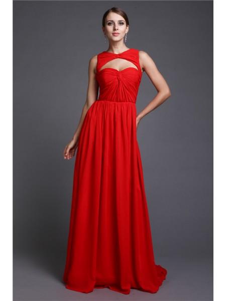 A-Line/Princess Ruffles Chiffon Dress