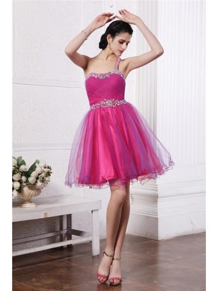 A-Line/Princess One-Shoulder Organza Cocktail Dress