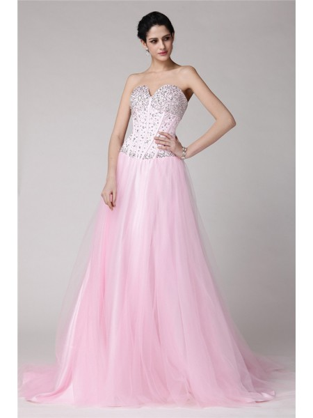 A-Line/Princess Sweetheart Long Elastic Woven Satin Net Dress