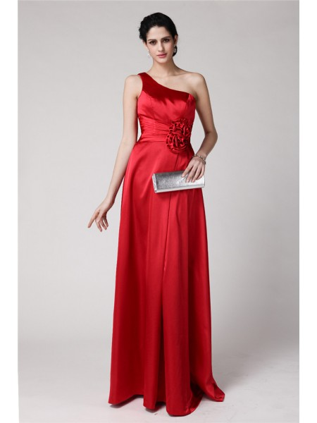 Sheath/Column One-Shoulder Pleats Long Elastic Woven Satin Bridesmaid Dress