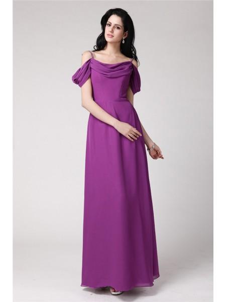Sheath/Column Pleats Spaghetti Straps Chiffon Bridesmaid Dress