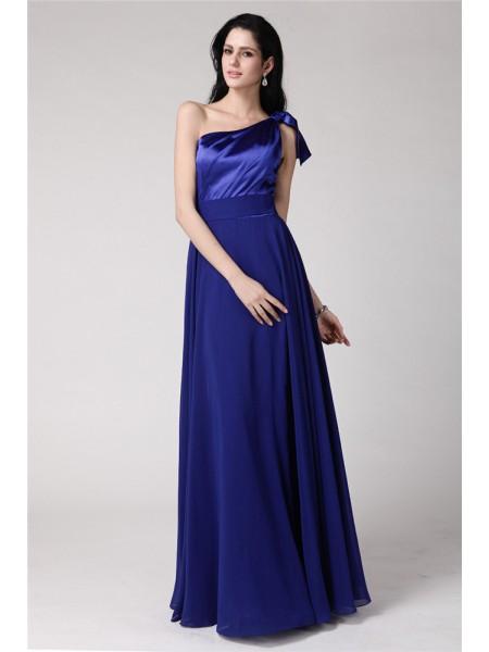 A-Line/Princess One-Shoulder Elastic Woven Satin Chiffon Dress