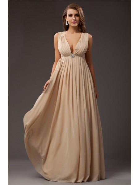 A-Line/Princess V-neck Chiffon Dress