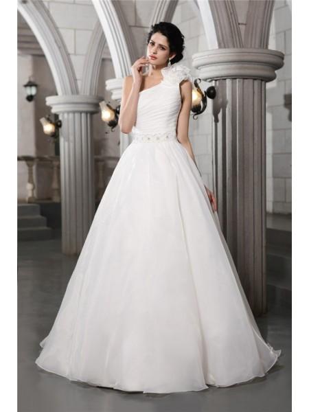 A-Line/Princess One-Shoulder Long Organza Wedding Dress