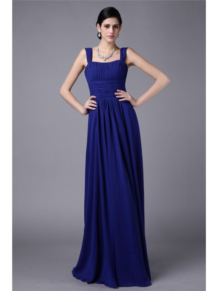 Sheath/Column Straps Pleats Chiffon Bridesmaid Dress