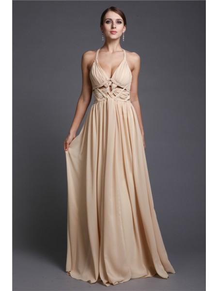 A-Line/Princess V-neck Ruffles Chiffon Dress
