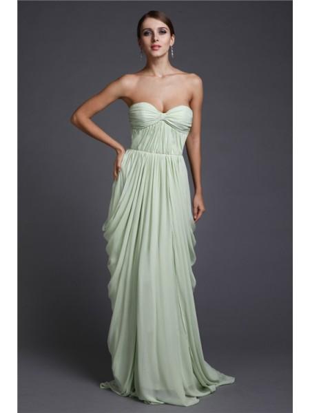 Sheath/Column Sweetheart Ruffles Chiffon Dress