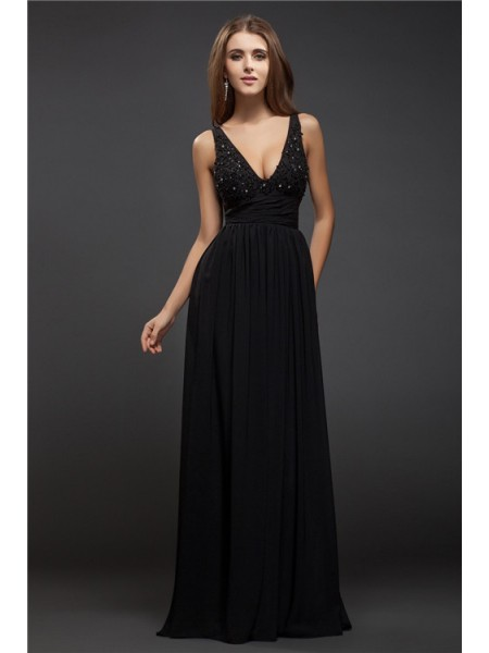 Sheath/Column V-neck Lace Chiffon Dress